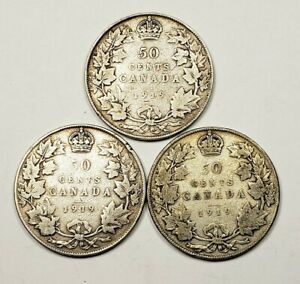 CANADA LOT OF 3 1919 STERLING SILVER 50 FIFTY CENTS