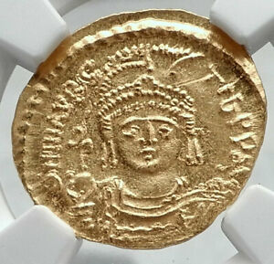 Click now to see the BUY IT NOW Price! MAURICE TIBERIUS AUTHENTIC ANCIENT BYZANTINE GOLD SOLIDUS COIN NGC MS I80682