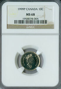 1999 P CANADA TEST 10 CENTS NGC MS 68 FINEST GRADE .