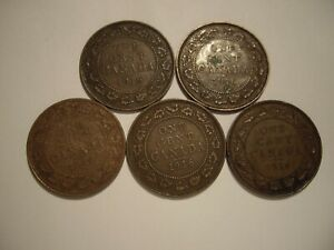 CANADA GEORGE V 1916 LARGE CENTS   LOTS OF 5 COINS