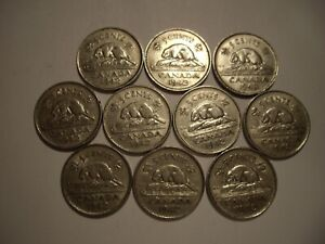 CANADA GEORGE VI 1942 FIVE CENTS   LOT OF 10 COINS