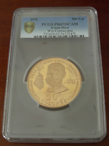Click now to see the BUY IT NOW Price! COSTA RICA 1970 BCCR GOLD 500 COLONES PCGS PF67DCAM PUBLIC EDUCATION