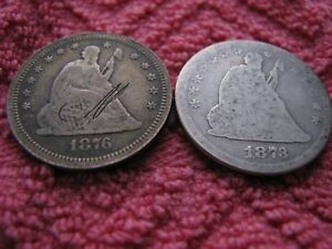 1873 NO ARROWS AND 1876 S  1A SEATED QUARTERS
