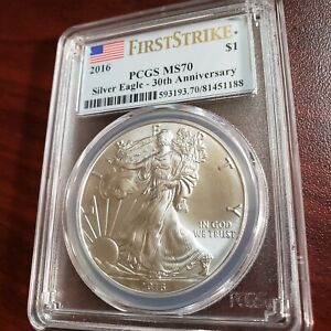 2016 SILVER EAGLE MS70 PCGS FIRST DAY OF ISSUE LABEL 30TH ANNIVERSARY