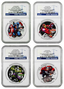 Click now to see the BUY IT NOW Price! 2014 NIUE SILVER $2   AVENGERS   COLORIZED   PF70 UC ER   NGC 4 COIN SET