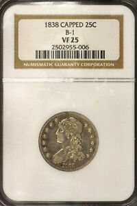 1838 CAPPED BUST QUARTER B 1 NGC VF 25