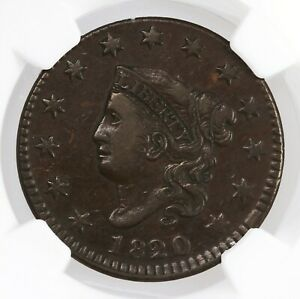 1820/19 CORONET HEAD 1C SMALL DATE N 2 NGC CERTIFIED VF35BN OVERDATE LARGE CENT