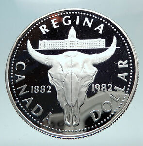 Click now to see the BUY IT NOW Price! 1982 CANADA UK QUEEN ELIZABETH II CATTLE SKULL PROOF SILVER DOLLAR COIN I80857