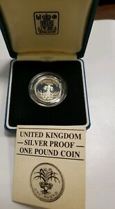 1985 UNITED KINGDOM SILVER PROOF ONE POUND COIN IN BOX WITH COA