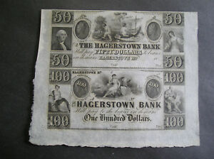 AUTHENTIC    1830S  1850'S HAGERSTOWN MARYLAND $50   $100 BANK NOTE UNCUT