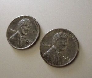 LOT OF 2: 1943 STEEL WHEAT PENNY NO MINT STAMP CIRCULATED POSSIBLE ERROR?
