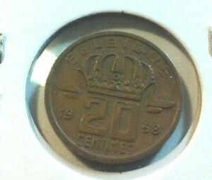 1958 BELGIUM 20 CENTIMES COIN    KM146   IN5732