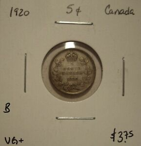 B CANADA GEORGE V 1920 SILVER FIVE CENTS   VG
