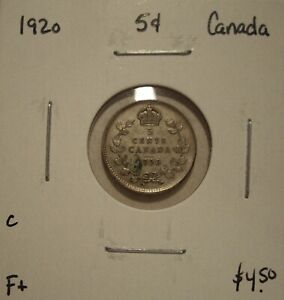 C CANADA GEORGE V 1920 SILVER FIVE CENTS   F