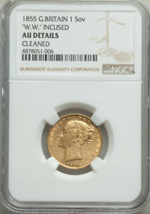 1855 QUEEN VICTORIA GOLD SOVEREIGN WW INCUSE SLABBED NGC AU DETAILS CLEANED