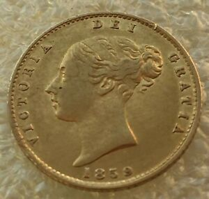 1859 QUEEN  VICTORIA GOLD HALF SOVEREIGN YOUNG HEAD SHIELD REVERSE
