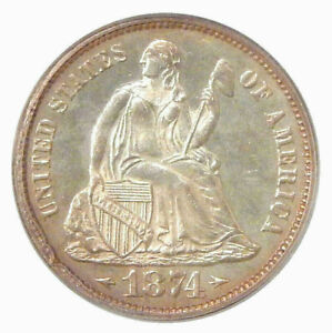 1874 ARROWS 10C PCGS PR 63 OGH   PQ TWO YEAR TYPE SEATED LIBERTY DIME