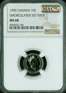 Click now to see the BUY IT NOW Price! 1993 CANADA 10 CENTS NGC MAC MS 68 PQ 2ND FINEST GRADE SPOTLESS POP 2 .