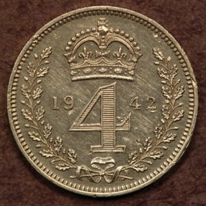 GREAT BRITAIN MAUNDY 4 PENCE 1942 SILVER EF