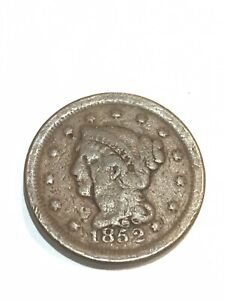 1852 BRAIDED HAIR LARGE CENT ERROR  ROTATED REVERSE