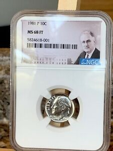 1981 P ROOSEVELT DIME NGC MS 68 FT   BEAUTY   ULTRA