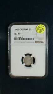 1916 CANADA FIVE CENTS NGC AU50 SILVER 5C COIN PRICED TO SELL NOW