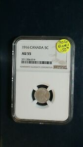 1916 CANADA FIVE CENTS NGC AU55 SILVER 5C COIN PRICED TO SELL NOW