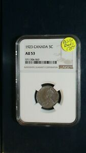 1923 CANADA FIVE CENTS NGC AU53 5C COIN PRICED TO SELL NOW