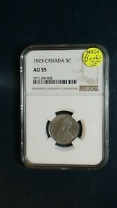 1923 CANADA FIVE CENTS NGC AU55 5C COIN PRICED TO SELL NOW