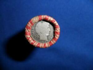 ROLL OF UNSORTED WHEAT PENNIES WITH A SILVER BARBER AND A 1909 WHEAT ON ENDS