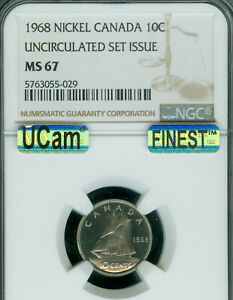 1968 CANADA 10 CENTS NGC MS67 UCAM SOLO FINEST GRADE MAC SPOTLESS  .
