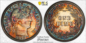 1892 P BARBER DIME PCGS MS62 SUPER TONER  THIS NICE RED BLUE GREEN