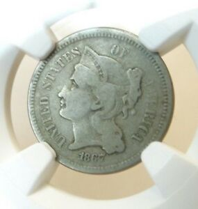 180 ROTATED REVERSE 1867 US 3 CENT NICKEL NGC MINT ERROR VG8 MEDALLIC ALIGNMENT