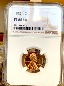 1942 LINCOLN CENT NGC PF 66 RED   PRICE GUIDE $1 600 CAMEO?