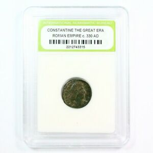 SLABBED ANCIENT ROMAN CONSTANTINE THE GREAT ERA ANCIENT BRONZE COIN C. 330 A.D.