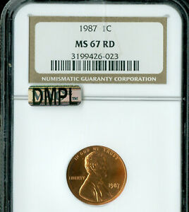1987 LINCOLN CENT NGC MAC MS67 RED DMPL MAC SPOTLESS  .
