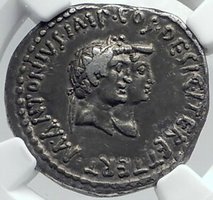 Click now to see the BUY IT NOW Price! MARK ANTONY& OCTAVIA SISTER OF AUGUSTUS SILVER ROMAN TETRADRACHM COIN NGC I81779