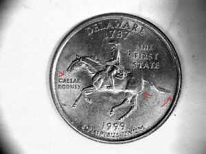 US QUARTER 1999 P DELAWARE NEW THE STUD   SPITTING HORSE ERROR  463