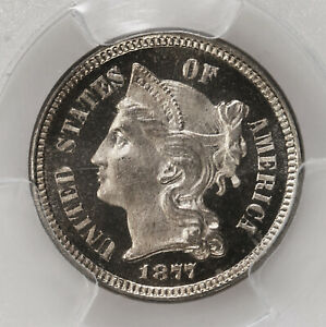 Click now to see the BUY IT NOW Price! 1877 THREE CENT NICKEL 3CN PCGS CAC CERTIFIED PR67CAM PROOF STRUCK CAMEO
