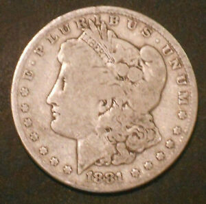 1881 P $1 MORGAN SILVER DOLLAR.