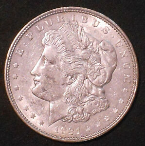 1921 D $1 MORGAN SILVER DOLLAR.  NICE.