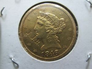 1846 5 DOLLAR INDIAN HEAD GOLD COIN IN EXTRA FINE CONDITION