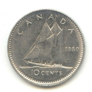 CANADA 1980 CANADIAN DIME TEN CENTS 10C EXACT COIN SHOWN