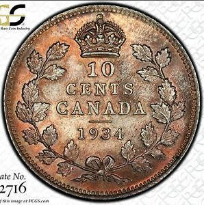 Click now to see the BUY IT NOW Price! CANADA 1934 10 CENT BEAUTIFUL HIGH GRADE DIME GRADED PCGS MS65 TONED. G05