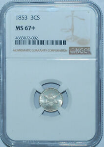 Click now to see the BUY IT NOW Price! 1853 NGC MS67  3CS THREE CENT SILVER TIED FOR FINEST REGISTRY