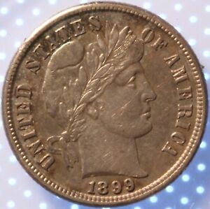 1899 S BARBER DIME CHOICE AU ORIGINAL LUSTROUS TONED CLASSIC TYPE COIN