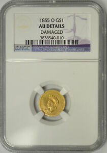 1855 O INDIAN PRINCESS $1 GOLD NGC AU DETAILS. NEW ORLEANS MINT