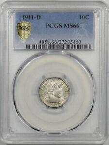 Click now to see the BUY IT NOW Price! 1911 D BARBER DIME PCGS MS 66 PREMIUM QUALITY