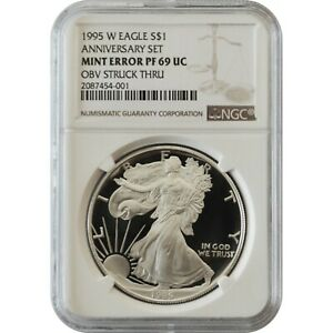 1995 W NGC PF69 US MINT ERROR 10TH ANNIVERSARY PROOF AMERICAN SILVER EAGLE