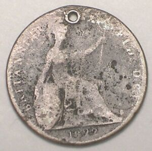1822 UK GREAT BRITAIN BRITISH FARTHING GEORGE IV COIN HOLED CULL